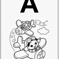 Desenho de Alfabeto da Turma da Monica Letra A para colorir