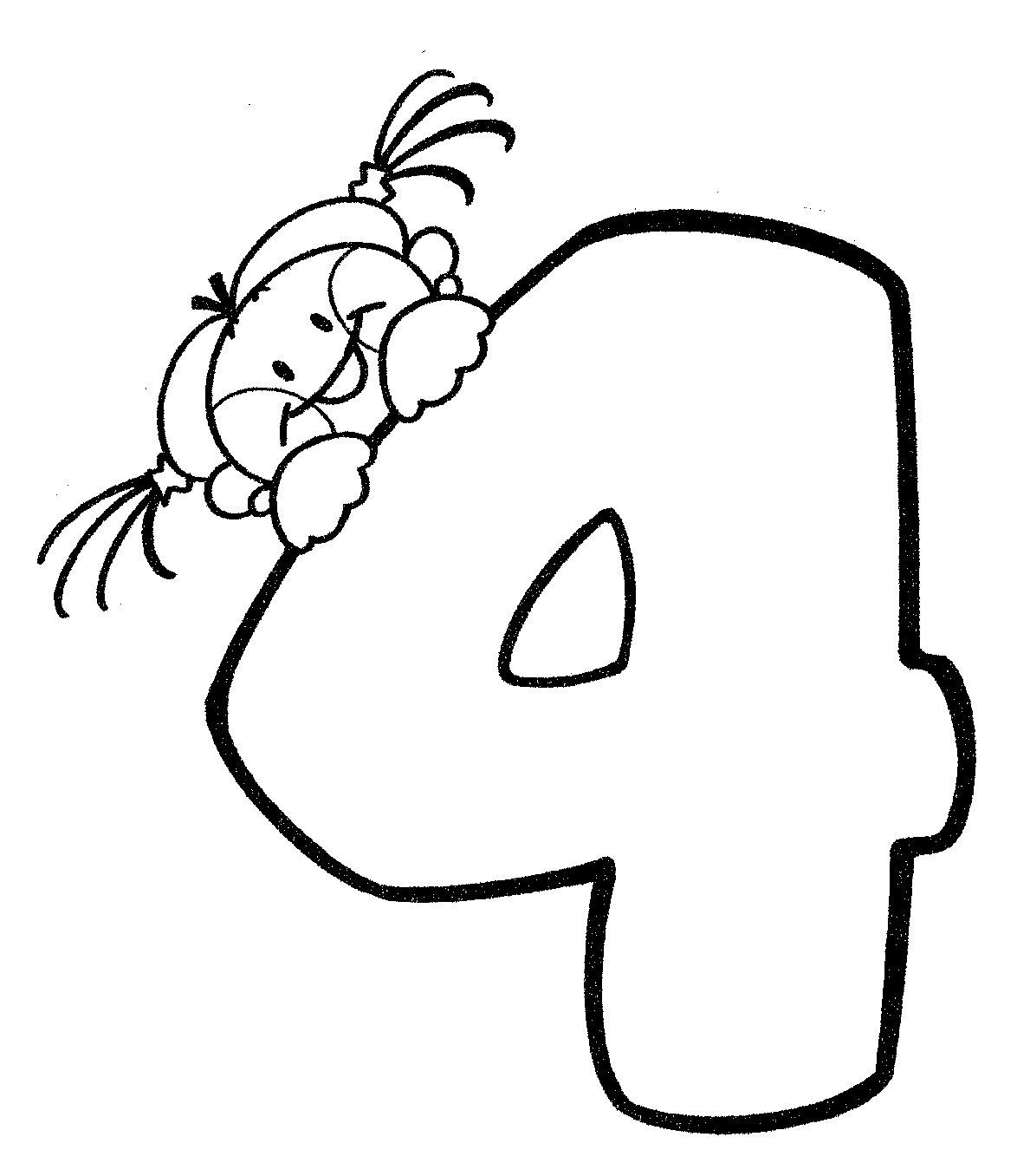 Desenho de Número 4 infantil para colorir - Tudodesenhos