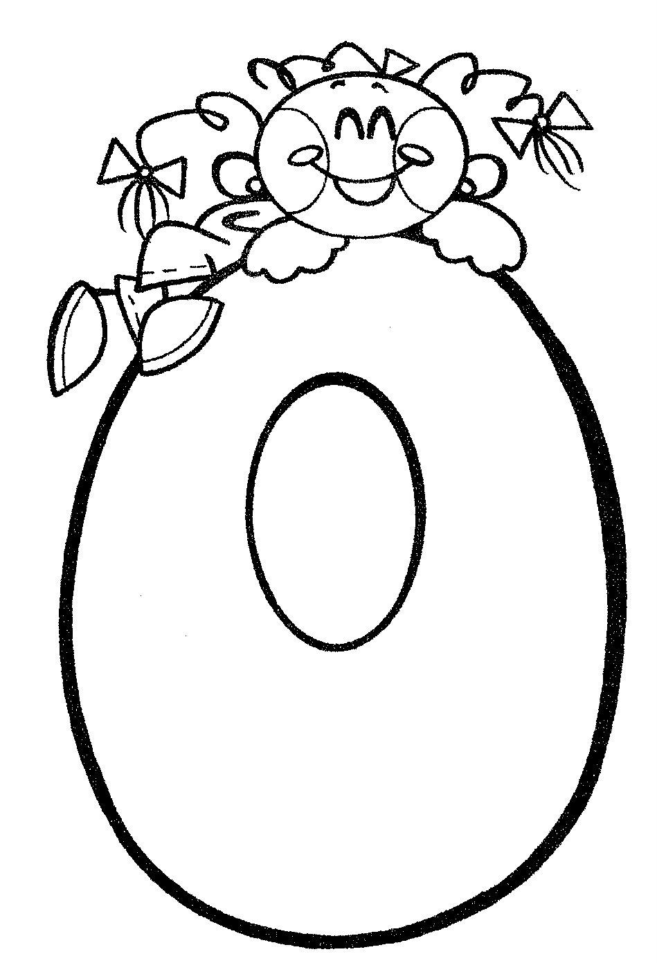 Desenho de Número 0 infantil para colorir - Tudodesenhos