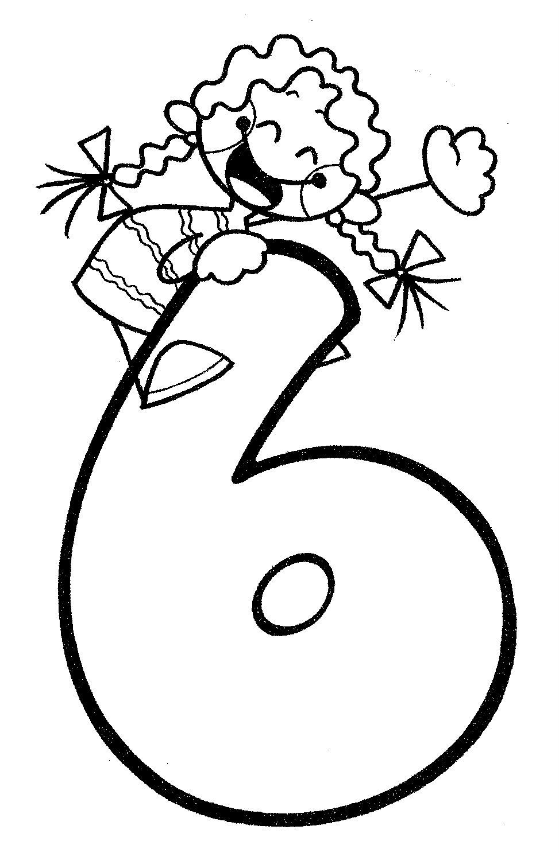 Desenho de Número 6 infantil para colorir - Tudodesenhos