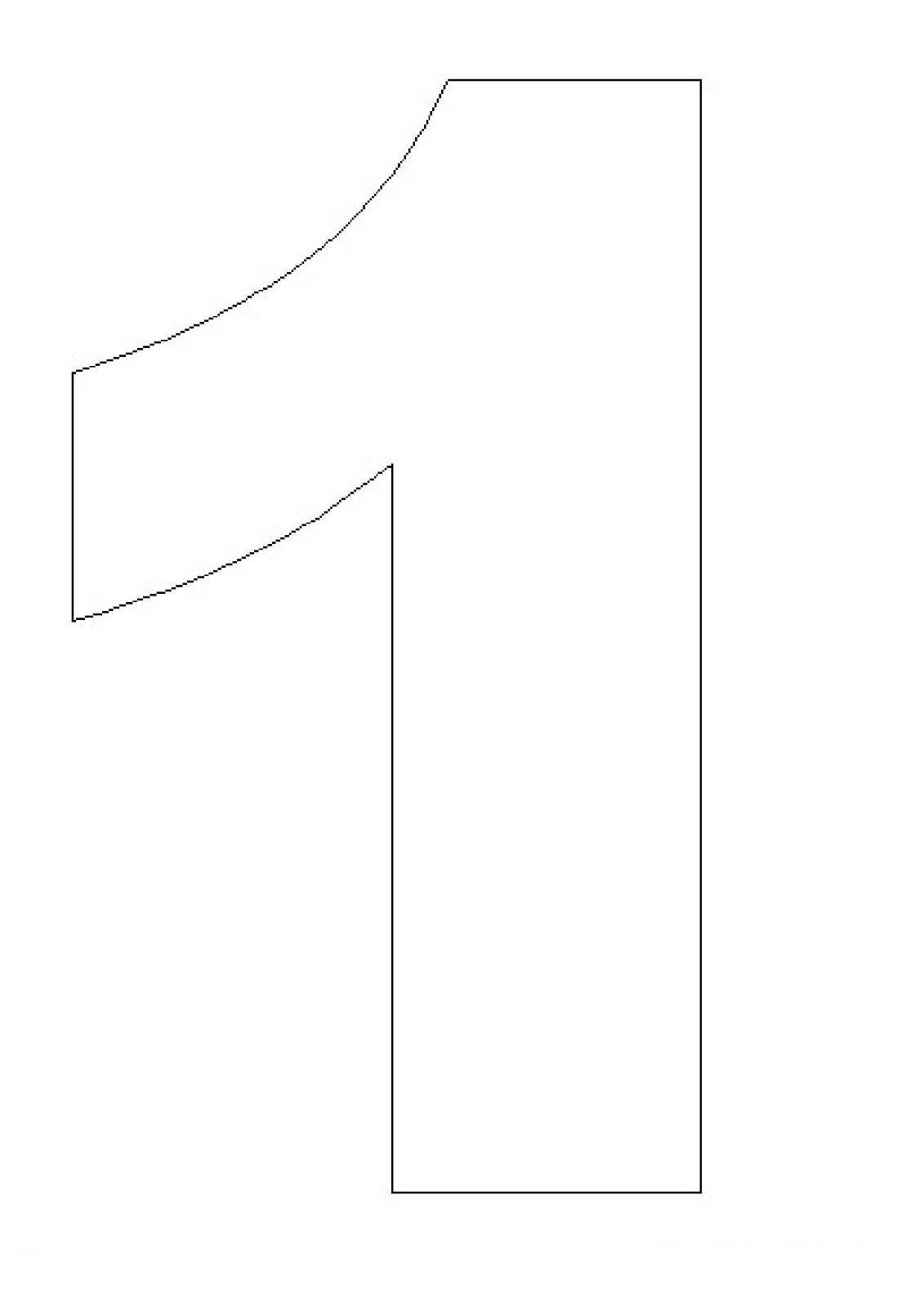 desenho de número 1 vazado para colorir tudodesenhos