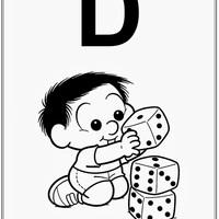 Desenho de Alfabeto da Turma da Monica Letra D para colorir