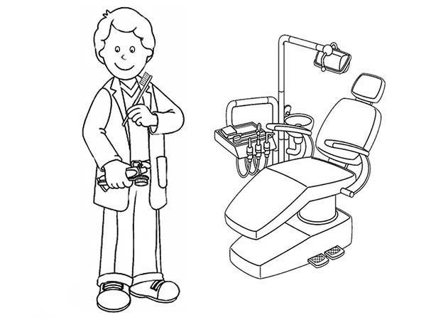 Desenho De Dentista Esperando Paciente Para Colorir