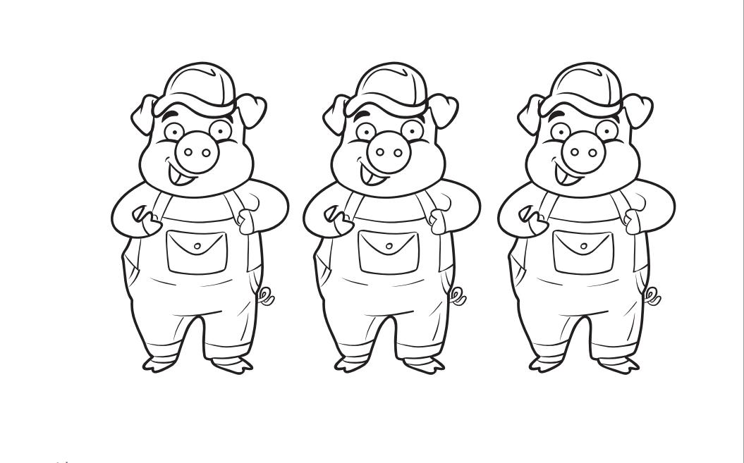 Desenho De Conto Infantil Dos Três Porquinhos Para Colorir
