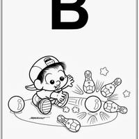 Desenho de Alfabeto da Turma da Monica Letra B para colorir