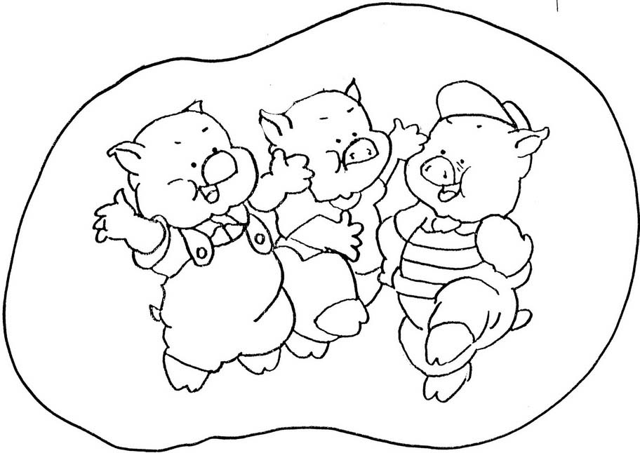 Desenho De Três Porquinhos Celebrando A Vida Para Colorir