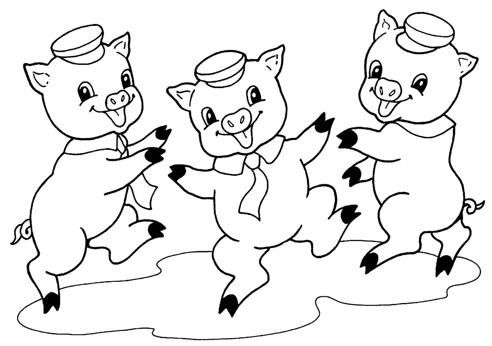 Desenho De Três Porquinhos Felizes Para Colorir Tudodesenhos