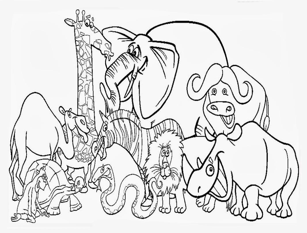 Desenho De Animais Do Zoológico Reunidos Para Colorir