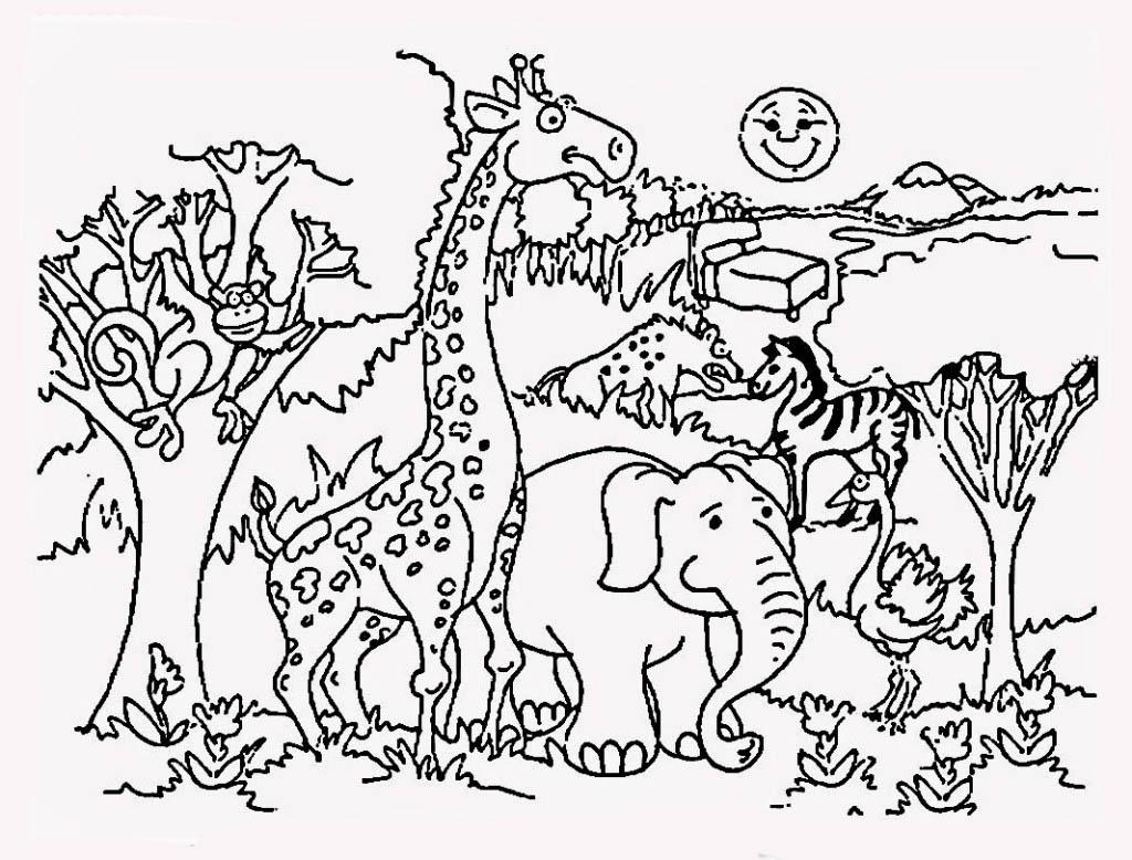 Desenho De Animais Do Zoológico Reunidos Para Colorir: Desenho De Safari No Zoológico Para Colorir