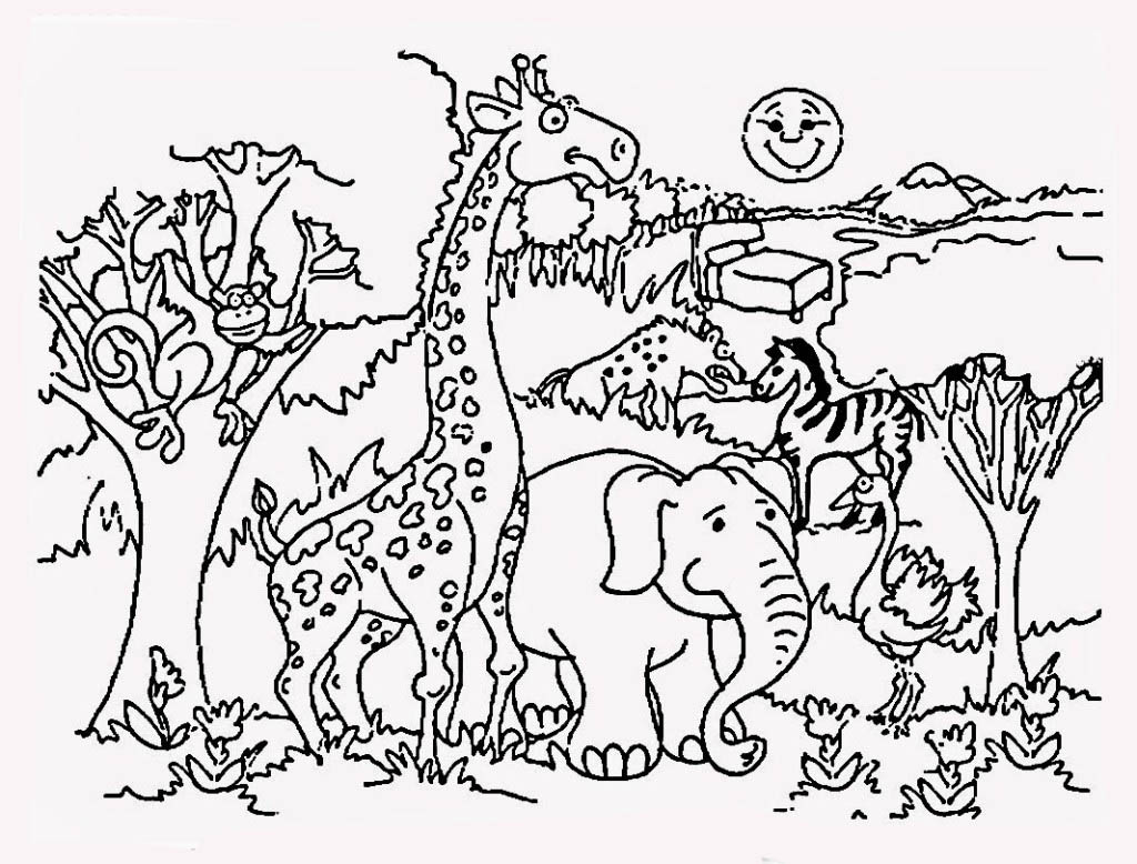 Desenho De Safari No Zoológico Para Colorir