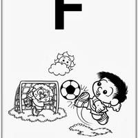 Desenho de Alfabeto da Turma da Monica Letra F para colorir