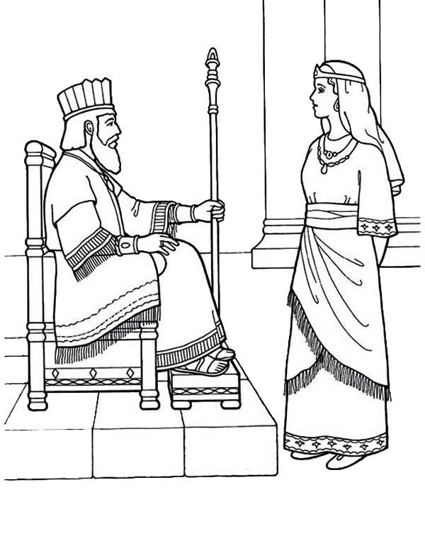 desenho de rainha ester e o rei para colorir tudodesenhos