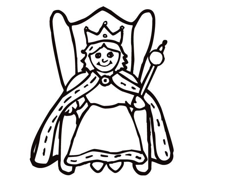 Desenho De Rainha No Trono Para Colorir