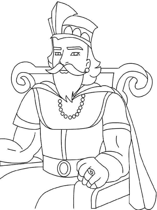 Desenho De Rei No Trono Para Colorir