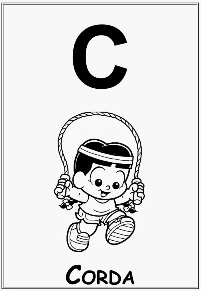 desenho de alfabeto da turma da monica letra c para colorir