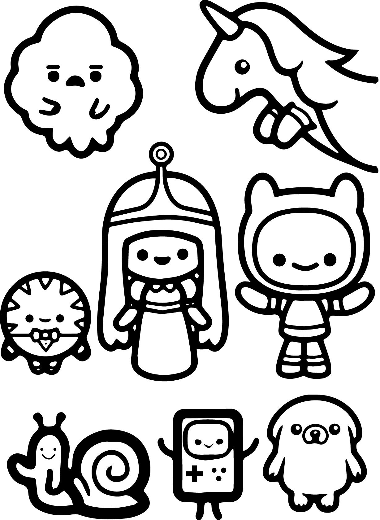 Adventure time characters chibi coloring pages