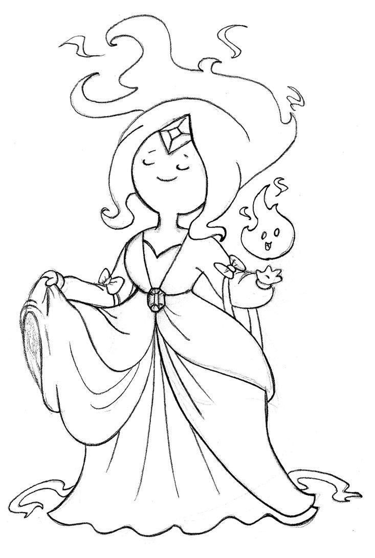 Desenho De Princesa Flama De Hora De Aventura Para Colorir