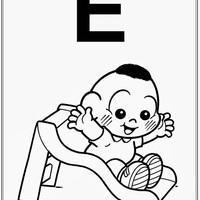 Desenho de Alfabeto da Turma da Monica Letra E para colorir