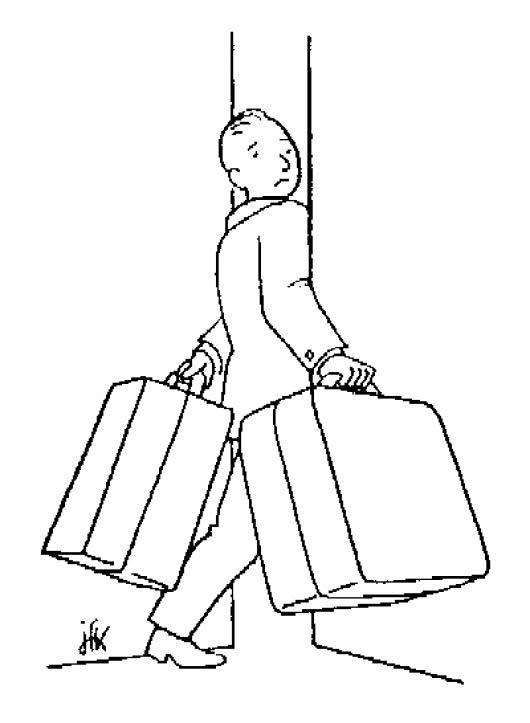 desenho de homem carregando mala para colorir tudodesenhos