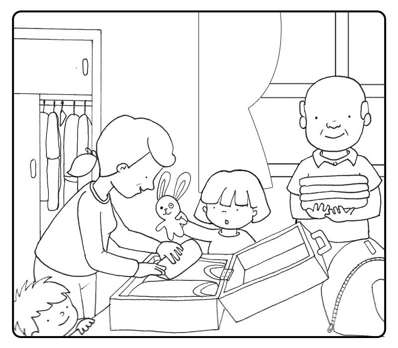 desenho de mamãe preparando mala para colorir tudodesenhos