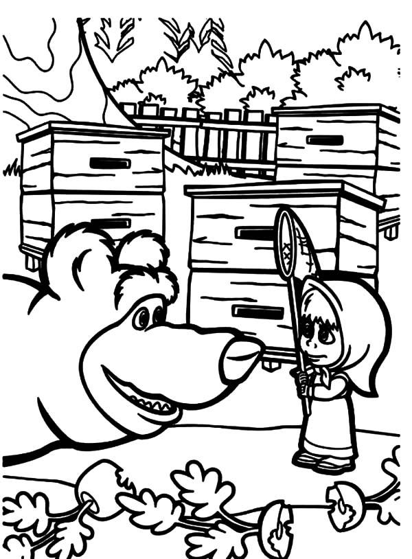 Desenho De Masha E O Urso Conversando Para Colorir Tudodesenhos