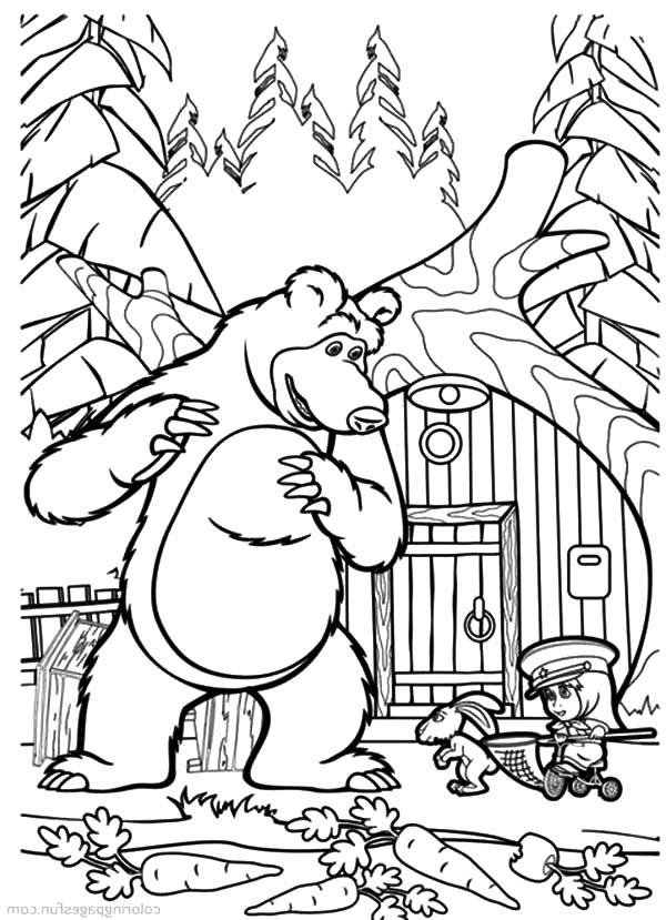 Desenho de urso ajudando masha a ca ar para colorir for Kazoops coloring pages