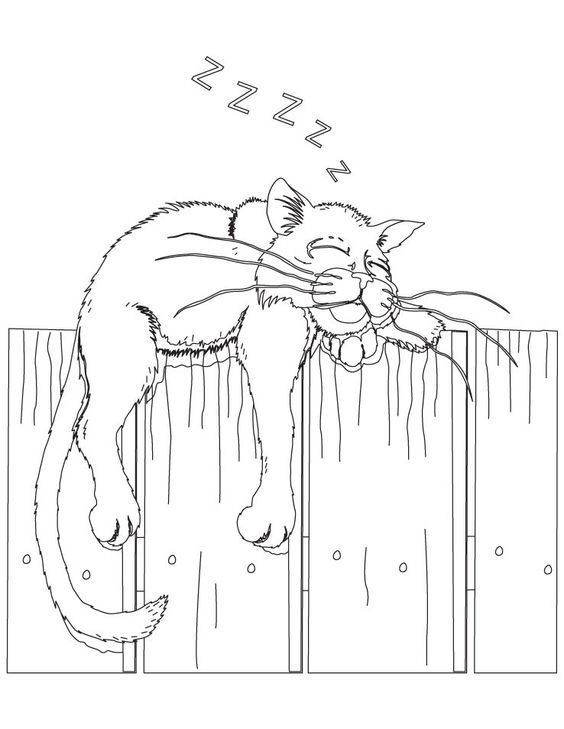 cat dreaming coloring pages - photo#29