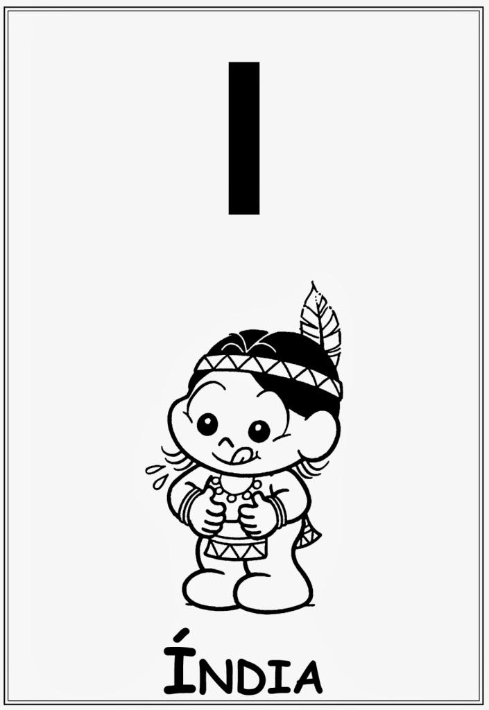 Alfabeto da turma da monica letra i