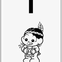 Desenho de Alfabeto da Turma da Monica Letra I para colorir