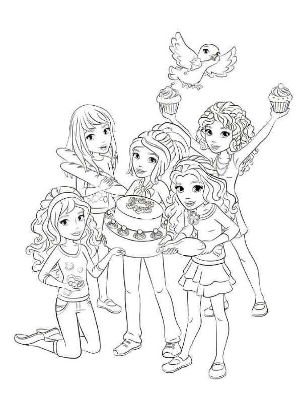 desenho de lego friends na festa de aniversário para