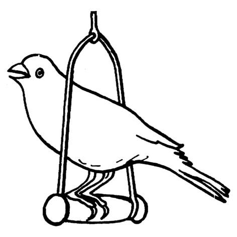 Desenho de Passarinho no poleirinho para colorir ... Cantando