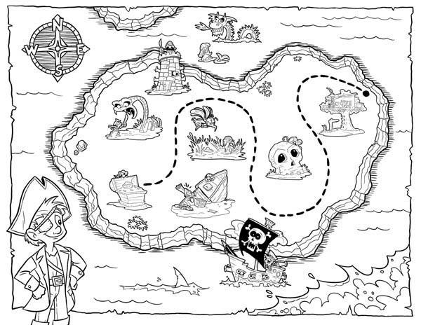 Desenho De Mapa Do Tesouro Para Colorir Tudodesenhos
