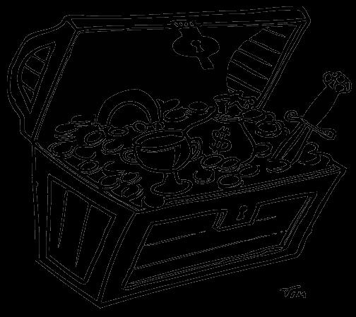 desenho de tesouro dentro do baú para colorir tudodesenhos