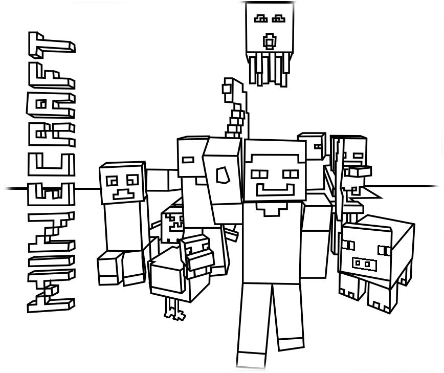 desenho de minecraft mobs para colorir tudodesenhos