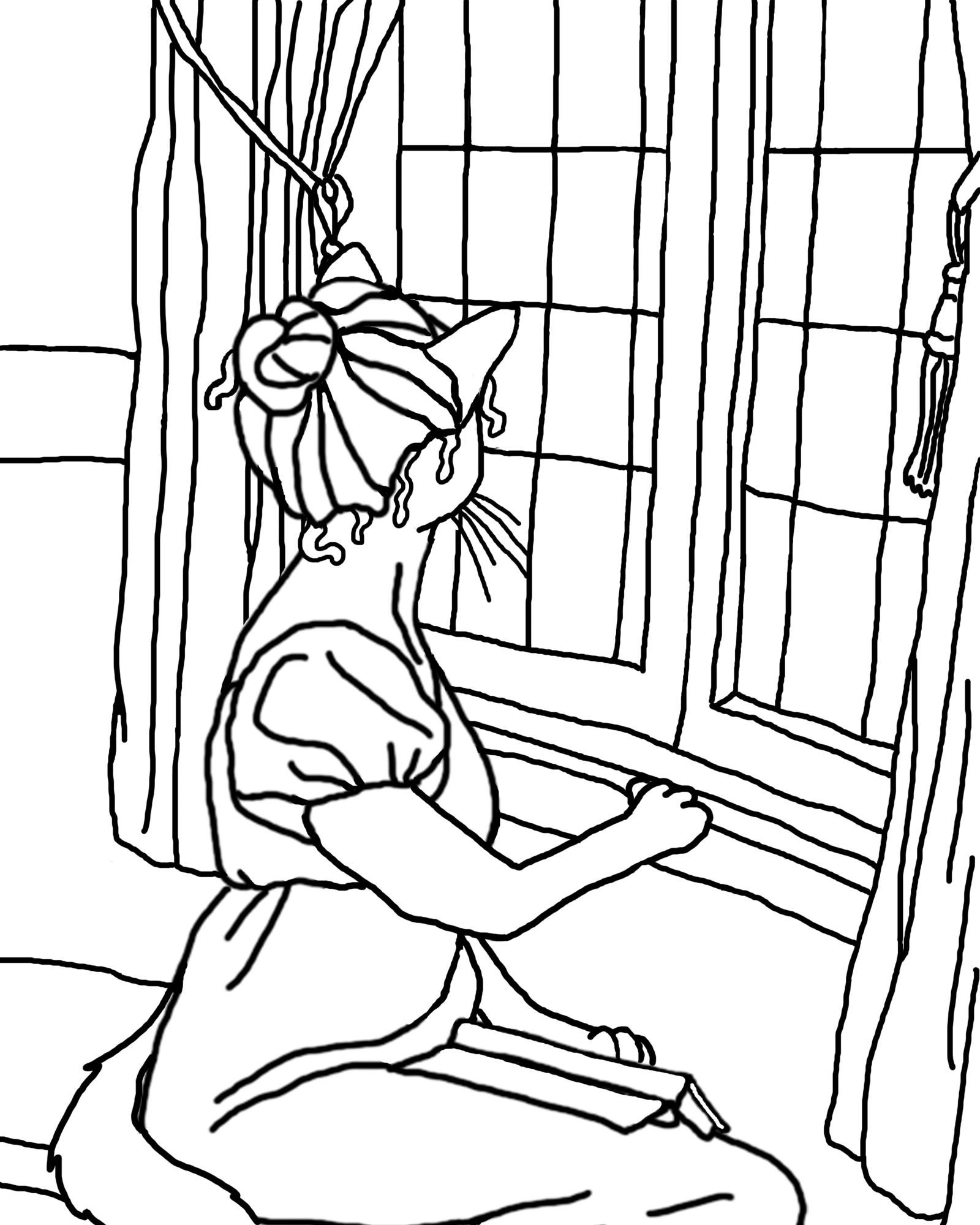 Desenho De Mulher Na Janela Para Colorir Tudodesenhos
