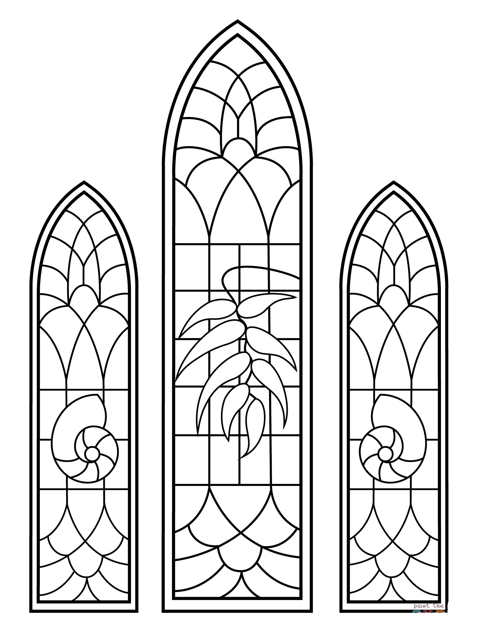 Desenho De Vitrais Da Igreja Para Colorir Tudodesenhos
