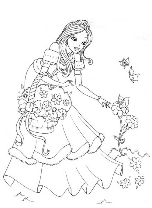 desenho de mulher vendo flores para colorir tudodesenhos