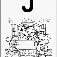 Desenho de Alfabeto da Turma da Monica Letra J para colorir