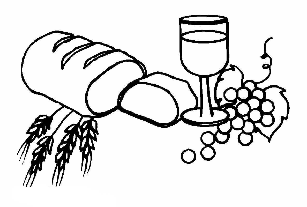 desenho de pão vinho e uvas para colorir tudodesenhos