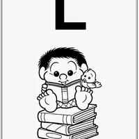 Desenho de Alfabeto da Turma da Monica Letra L para colorir