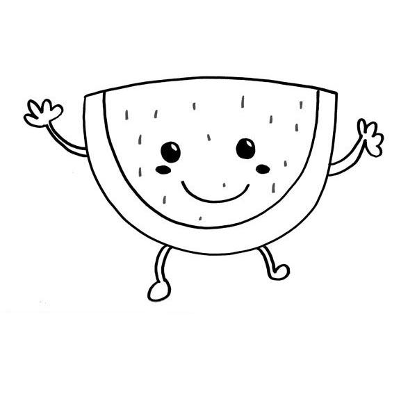 desenho de melancia divertida para colorir tudodesenhos
