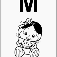 Desenho de Alfabeto da Turma da Monica Letra M para colorir