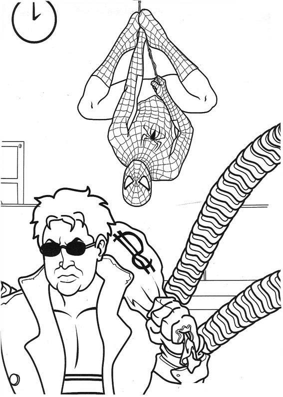 desenho de homem aranha e inimigo para colorir tudodesenhos