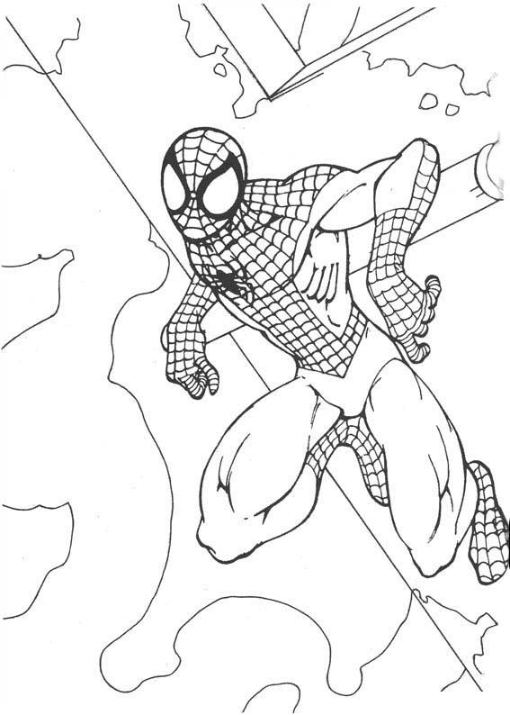 desenho de homem aranha se segurando na parede para colorir