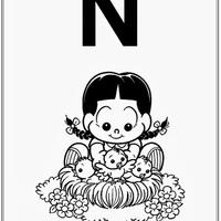 Desenho de Alfabeto da Turma da Monica Letra N para colorir