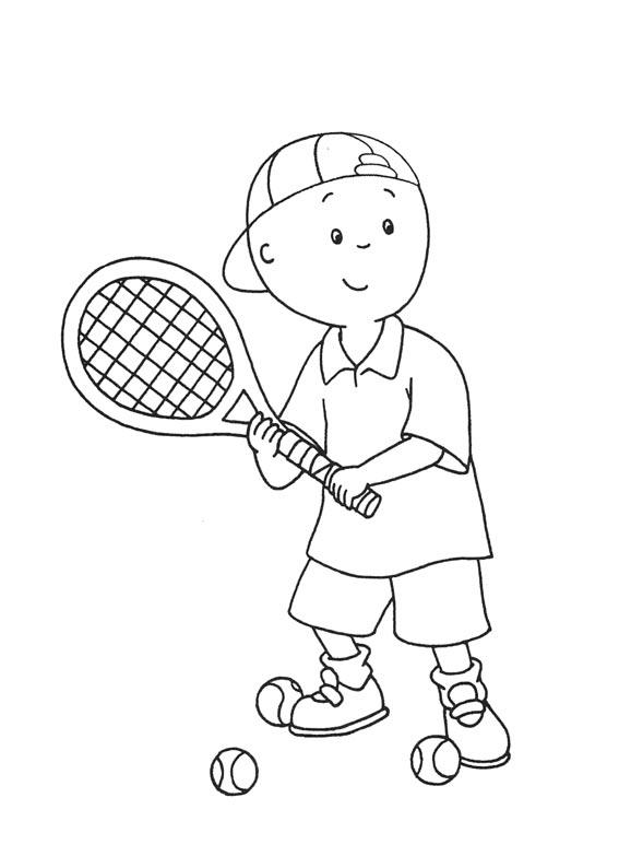 desenho de caillou jogando tênis para colorir tudodesenhos