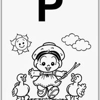 Desenho de Alfabeto da Turma da Monica Letra P para colorir