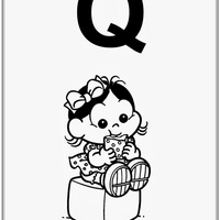Desenho de Alfabeto da Turma da Monica Letra Q para colorir