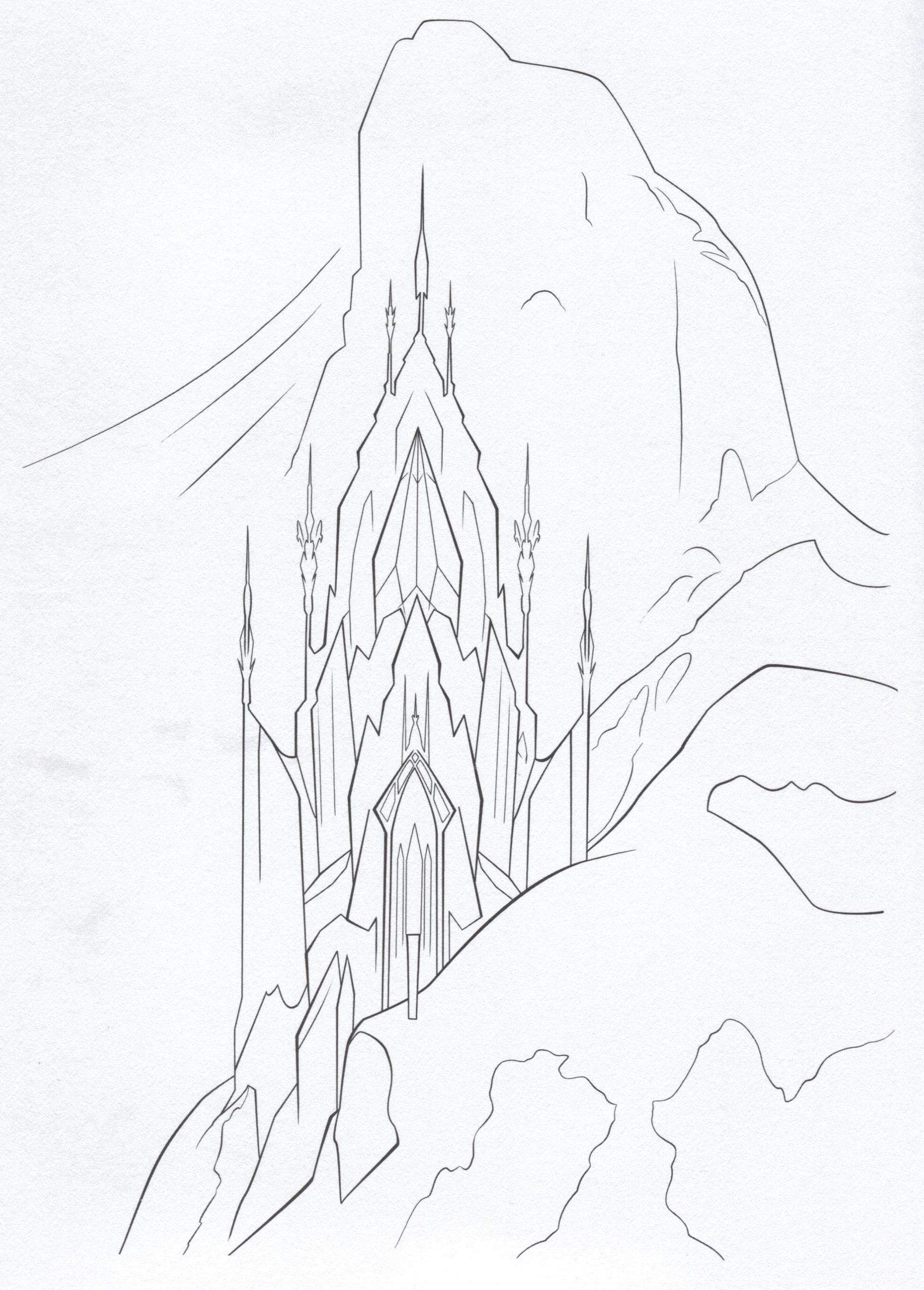 desenho de castelo de gelo da elsa para colorir tudodesenhos
