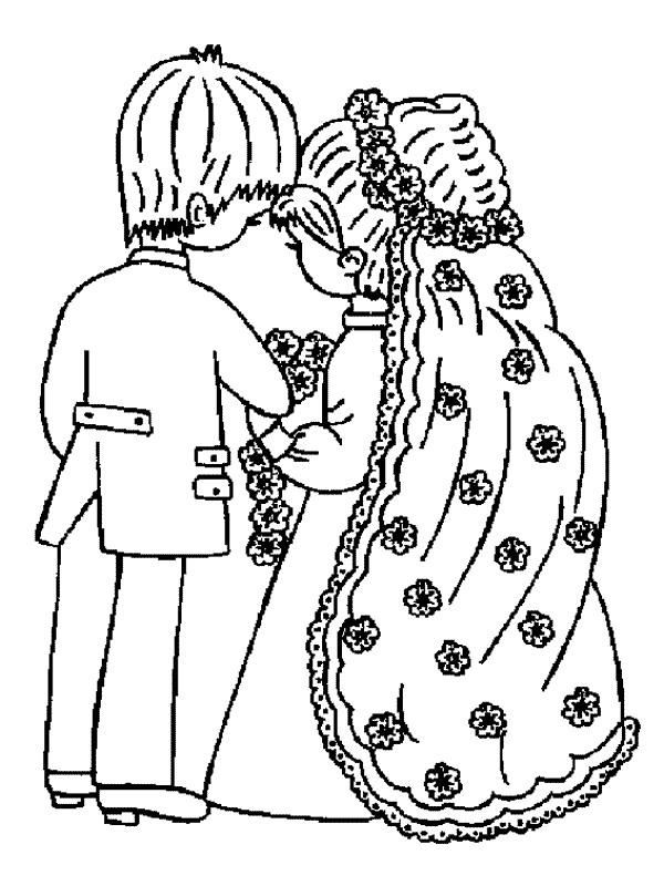 desenho de casal de noivos apaixonados para colorir tudodesenhos